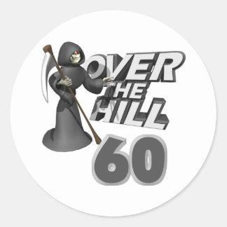 Över den 60th födelsedaggåvan för backe runda klistermärken