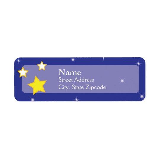 Över etiketten för returadress för månestjärnor | returadress etikett
