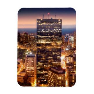 Överblick av Boston på natten Magnet