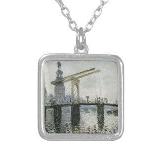 Överbrygga, Amsterdam vid Claude Monet Silverpläterat Halsband