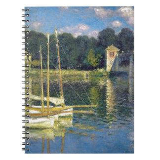 Överbrygga på Argenteuil vid Claude Monet Anteckningsbok Med Spiral