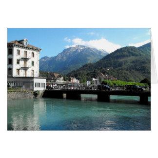 Överbrygga på Interlaken i Schweitz Hälsningskort