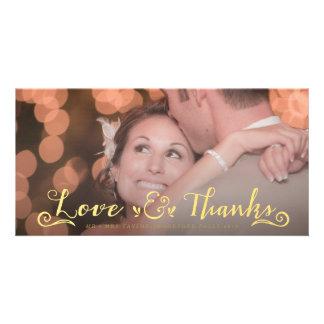 Överdrar det guld- tack för bröllop fotokort