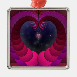 Overklig konst för mycket liten hjärtaFractal Julgransprydnad Metall