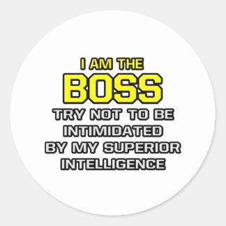 Överlägsen intelligens för chef… runt klistermärke
