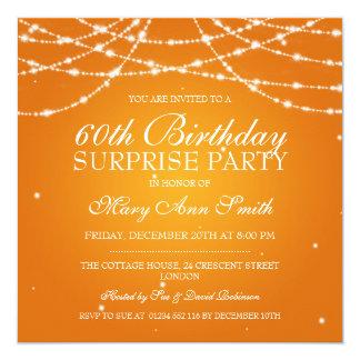 Överrrakningfödelsedagsfesten stränger av orange fyrkantigt 13,3 cm inbjudningskort