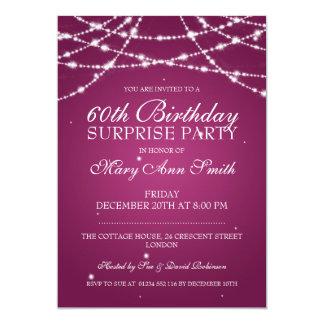 Överrrakningfödelsedagsfesten stränger av rosa 12,7 x 17,8 cm inbjudningskort
