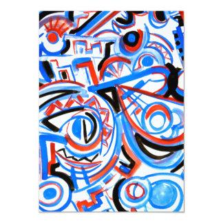 Översvallande sjunga - abstrakt konst 11,4 x 15,9 cm inbjudningskort