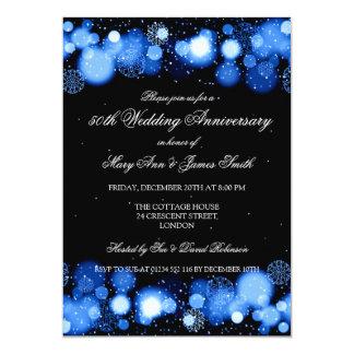 Övervintra 50th bröllopsdagblått 12,7 x 17,8 cm inbjudningskort