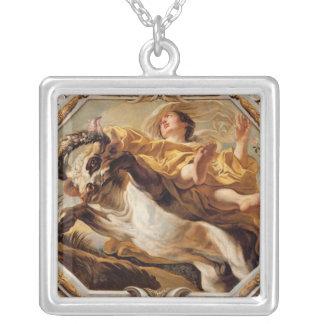 Oxen från teckenet av zodiacen silverpläterat halsband