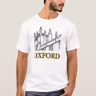 Oxford England byggnad 1986 röra sig i spiral vit Tee Shirt