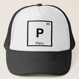 P - Symbol för bord för pianomusikkemi periodiskt Truckerkeps