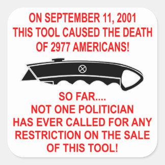 På 9-11 detta verktyg (en boxasskärare) som fyrkantigt klistermärke