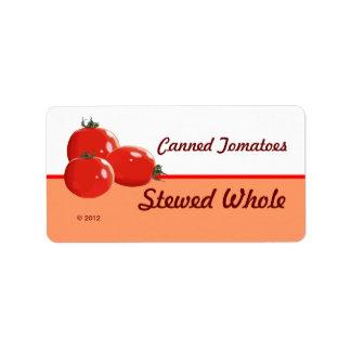 På burka tomater Lables för anpassade Adressetikett