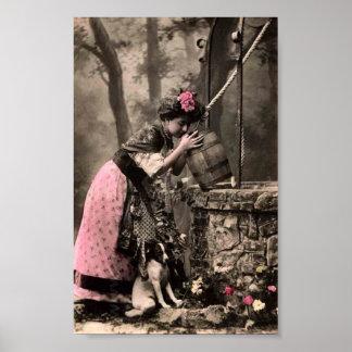 På det väl trycket för konst för hund för vintageV Poster