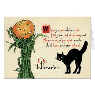 På kort för Halloween vintagehälsning