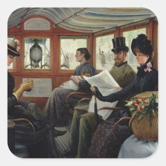 På omnibusen 1880 fyrkantigt klistermärke