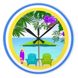 På stranden tar tid på väggen stor klocka