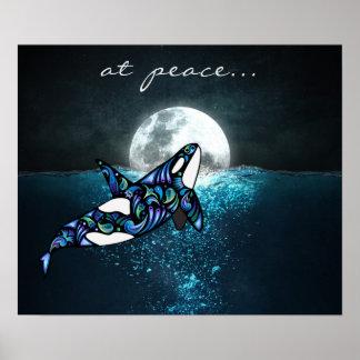 på val för Orca för fred~-fullmåne det Psychedelic Poster