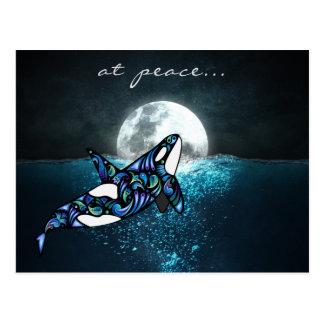 på val för Orca för fred~-fullmåne det Psychedelic Vykort