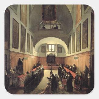 Påbörjandet av en ung novis från Albano i th Fyrkantigt Klistermärke