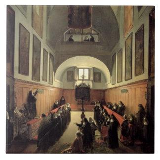 Påbörjandet av en ung novis från Albano i th Kakelplatta