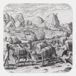 Packetåg av Llamas Laden med silver Fyrkantigt Klistermärke