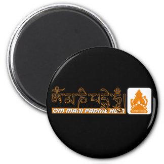 Padmemummel Chenrezig för Om mani Magnet Rund 5.7 Cm