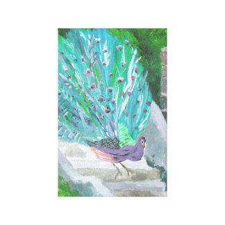 Påfågel 2 (akrylen vid Kimberly Turnbull konst) Canvastryck