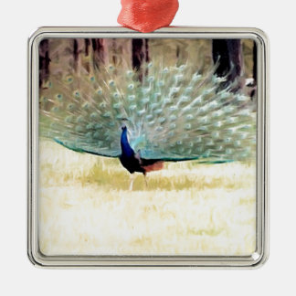 Påfågel i penseldrag julgransprydnad metall