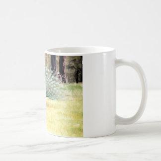 Påfågel i penseldrag kaffemugg