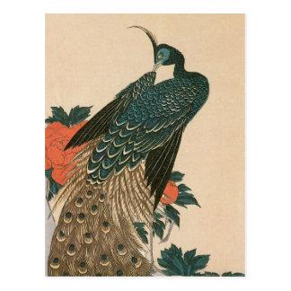 Påfågel och pioner vid Hiroshige, japansk konst Vykort