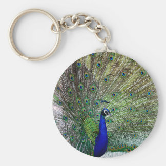 Påfågel Rund Nyckelring