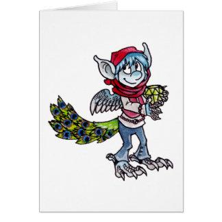 Påfågelelakt troll hälsningskort