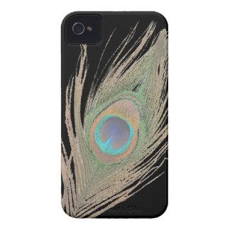 Påfågelfjäder på svart Case-Mate iPhone 4 fodraler