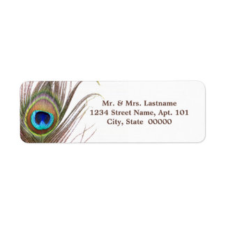 Påfågelfjäderadressetiketter Returadress Etikett
