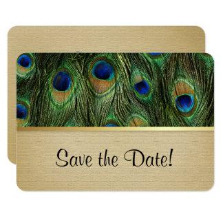 Påfågelfjädergrönt - spara datera 8,9 x 12,7 cm inbjudningskort