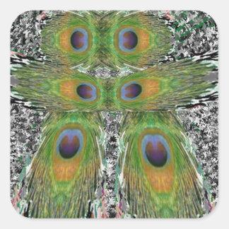 PåfågelfjäderShow Fyrkantigt Klistermärke