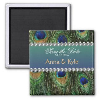 Påfågelmönster och pärlor magnet