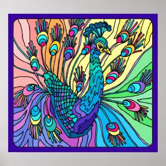 Påfågeln visar dess fjädrar: Affisch