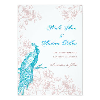 Påfågelspara datera 12,7 x 17,8 cm inbjudningskort