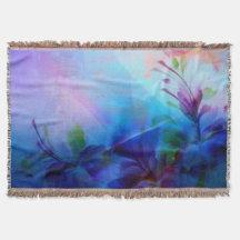Painterly blom- kastfilt för solnedgång mysfilt