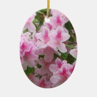 Painterly rosa Azaleas Julgransprydnad Keramik
