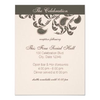 Paisley blommigtmottagande 10,8 x 14 cm inbjudningskort