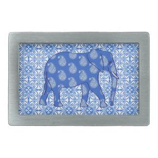 Paisley elefant - koboltblått och vit