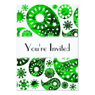 Paisley med grönt virvlar runt modellen 12,7 x 17,8 cm inbjudningskort