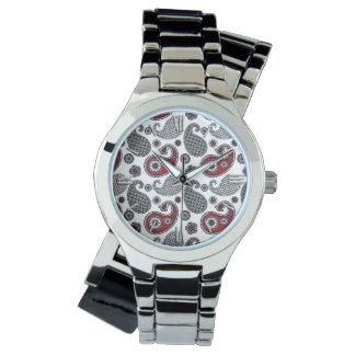 Paisley mönster, svart, vit och rött armbandsur