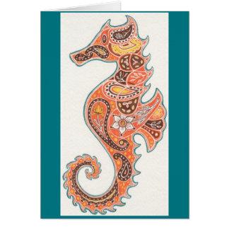 Paisley Seahorse Hälsningskort