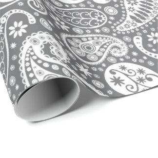 Paisley skuggar in av grå färg presentpapper