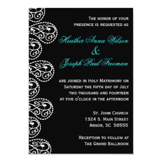 Paisley svartvit bröllopinbjudan 12,7 x 17,8 cm inbjudningskort